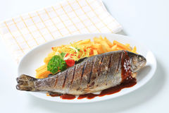 Grilled trout and French fries Stock Photography