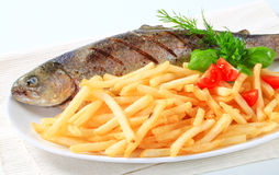Grilled trout with French fries. Dish of grilled trout and French fries royalty free stock image