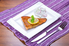 Grilled trout with lemon Royalty Free Stock Images