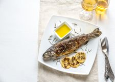 Grilled trout with lemon and rosemary Stock Images