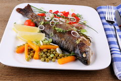 Grilled trout with quite different vegetables with cutlery Royalty Free Stock Photography