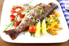 Grilled trout and quite fine vegetables with cutlery Stock Images