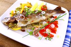 Grilled trout with quite fine vegetables on wood background Royalty Free Stock Images