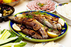 Grilled trout and rice Royalty Free Stock Photos