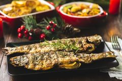 Free Grilled Trout Stuffed With Vegetables Stock Photo - 133274130