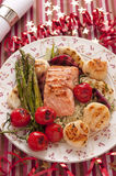 Grilled trout with vegetables and scallops Royalty Free Stock Photography