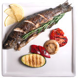 Grilled trout with vegetables. A whole grilled trout with vegetables Stock Photos