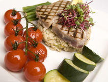 Grilled Tuna & Cherry Tomato salad Stock Photos