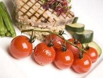 Grilled Tuna & Cherry Tomato salad Stock Photo