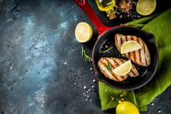 Grilled tuna fish steaks royalty free stock photography