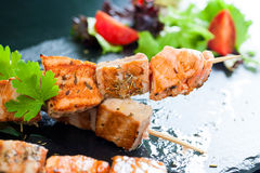 Grilled tuna and salmon brochettes. Stock Image