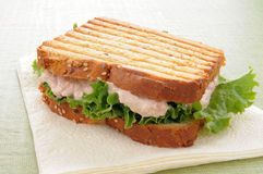 Grilled tuna sandwich on a napkin Stock Photography