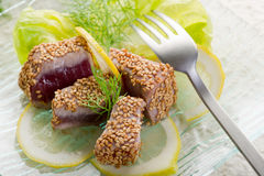 Grilled tuna with seed sesame Stock Images