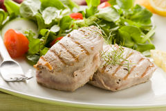 Grilled Tuna Steak with Salad Stock Photos