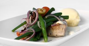 Grilled Tuna Steak with Vegetables Royalty Free Stock Photos