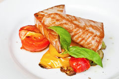 Grilled tuna steaks with vegetables Stock Photo