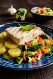 Grilled tuna with steamed vegetable salad. Grilled tuna steaks with steamed broccoli, red pepper, zucchini, parsley, stalk celery and carrot Royalty Free Stock Image