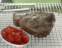 Grilled tuna with tomatoes and anchovies Stock Image