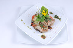 Grilled tuna with vegetables. A crisp seasonal salad with grilled tuna, chunks of fresh vegetables, balsamic onions and chimichurri sauce. Knackiger Salat mit stock photo
