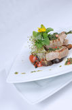 Grilled tuna with vegetables. A crisp seasonal salad with grilled tuna, chunks of fresh vegetables, balsamic onions and chimichurri sauce. Knackiger Salat mit stock image