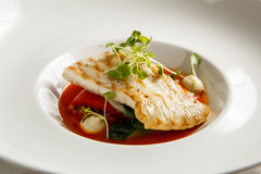 Grilled turbot, tabouli, sweet pepper sauce and summer vegetables. White dish Stock Image
