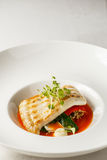 Grilled turbot, tabouli, sweet pepper sauce and summer vegetables. White dish Royalty Free Stock Photo