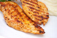 Grilled turkey  breast. close up Stock Photo