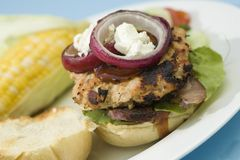 Grilled Turkey Burgers Stock Image
