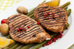 Grilled Turkey Fillet And Green Beans Royalty Free Stock Photo