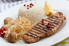 Grilled Turkey Fillet ,rice,soy Sprouts Royalty Free Stock Image