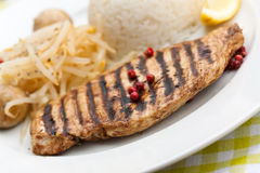 Grilled turkey fillet ,rice,soy sprouts Stock Photography