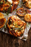 Grilled turkey fillet steak with addition herbs and shallot onions Royalty Free Stock Photo