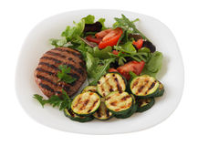 Grilled turkey hamburger with vegetables Royalty Free Stock Photography