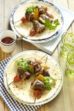 Grilled turkey heart kebab with vegetables Royalty Free Stock Photography