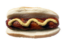 Grilled turkey sausage on hotdog bun Royalty Free Stock Photo