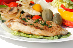 Grilled turkey steak. With different vegetables Stock Photography