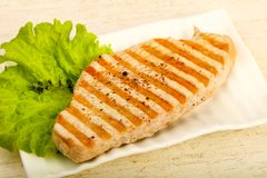 Grilled turkey steak. With spices and sauce Royalty Free Stock Photo