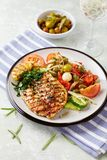 Grilled turkey steak with salad. Concept for healthy eating and nutrition. Royalty Free Stock Photos