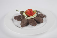 GRILLED TURKISH KOFTA KEBABS.  Every Middle Eastern country has a version of grilled Kofta Kebabs.Kofte Kebabs are traditionally made with lamb Stock Images