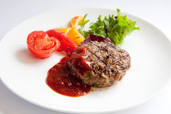 Grilled Veal Chop Stock Photography