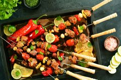 Grilled Veal Skewers - A Delicious Keto Diet Meal With An Entire Preparation Photos Stock Photo