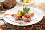Grilled veal with vegetables Stock Photo