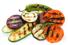 Grilled vegetable. Barbecued healthy vegetable isolated on white background Stock Image