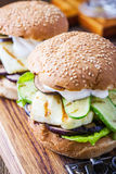 Grilled vegetable and haloumi burger with romaine lettuce Royalty Free Stock Photography