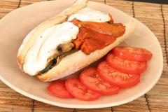 Grilled vegetable hero sandwich Royalty Free Stock Images