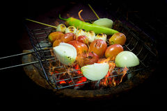 Grilled vegetable and meat ball with charcoal stove Royalty Free Stock Images