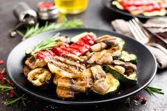 Grilled vegetable salad. Salad of barbecued zucchini, eggplant, sweet pepper, onion and mushrooms on black plate. Stock photo Royalty Free Stock Photos