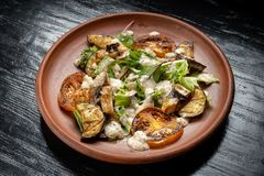 Free Grilled Vegetable Salad. Salad Of Barbecued Zucchini, Eggplant, Onion. Royalty Free Stock Photography - 160439787