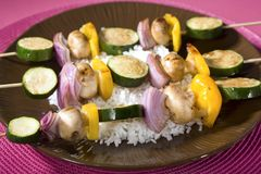 Grilled Vegetable Shish Kebobs Stock Photos