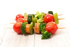 Grilled vegetable skewer. Close up on grilled vegetable skewer royalty free stock photos